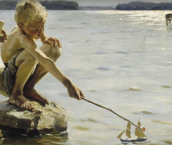 Boys Playing on the Shore (Detalle) - Albert Edelfelt (1884)